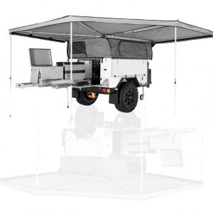 CAMPER TRAILER SQUARE BACK DELUXE AWNINGS (SIZES RANGE FROM 2.1M - 3.5M ALONG VEHICLE)