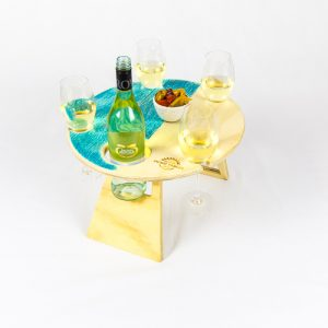 Round Blue Bay Foldable Wine Table