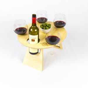 Round Natural Folding Wine Table