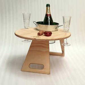 Chill Folding Wine Table – Round Natural
