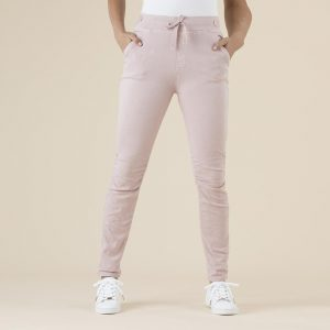 Tie Front Gathered Jeans - Pink