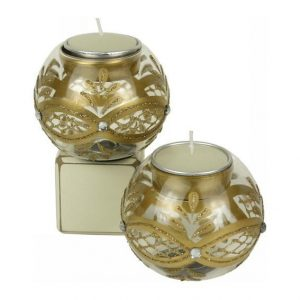 Candle holder - Gold Glass Bauble