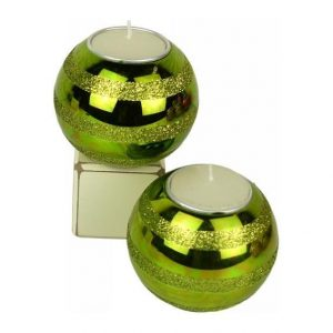 Candle holder - Green Glass Bauble