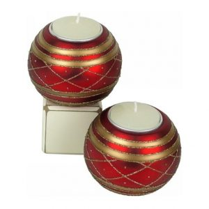 Candle holder - Red + Gold Glass Bauble