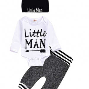 3-Piece  Little Man Outfit, Playsuit, and Hat