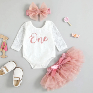 My First Birthday Outfits Long Sleeve Floral Lace Romper Tutu Skirt Headband Baby's Set