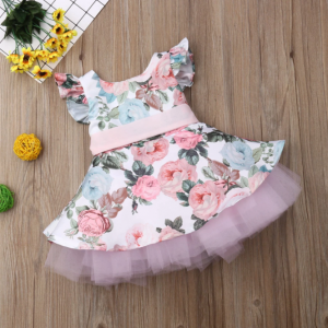Baby Girls  Flower Lace Tutu Party Dress