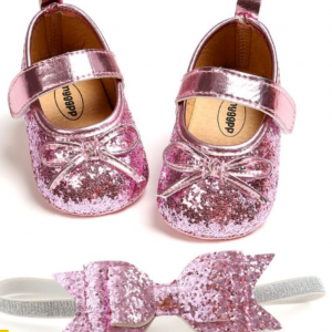 Baby Girls Sparkle shoes with matching Bow Headband