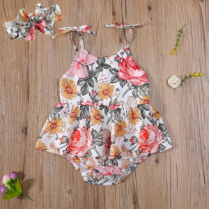 Sister Matching Clothes Set Little Girls Floral Romper + Headband, Big Girl Dress Sleeveless Fashion Floral Summer Clothes Outfit