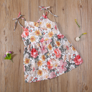 Sister Matching Clothes Set Little Girls Floral Romper + Headband Big Girl Dress Sleeveless Fashion Floral Summer Clothes Outfit