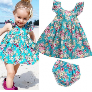 Baby Girl Ruffle Floral  Sundress and Briefs Outfit